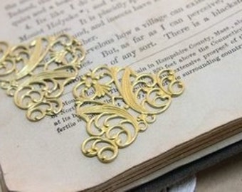 10pcs RAW Brass Filigree  Jewelry Stampings ConnectorsSetting Cab Base Connector Finding  (FILIG-RB-14)