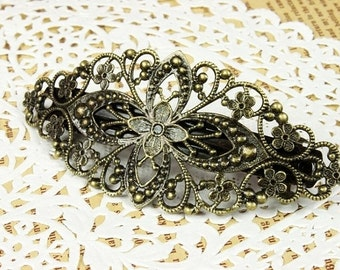 50Pcs Antique Brass Bronze Plate  Filigree Floral Head Clip Setting  NICKEL FREE