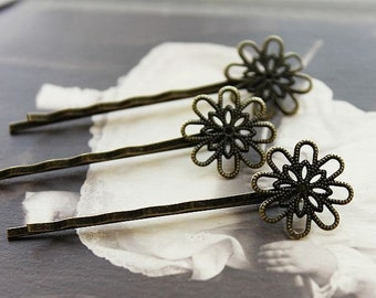 10Pcs Wholesale Antique Brass Filigree Hair  pins Clip Setting- high quality-NICKEL FREE( PINSS-14)