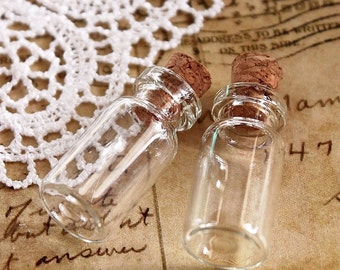 10pcs 24x12mm Clear Glass Tiny Bottle Vials Charms / Pendants with  With Corks /EYEHOOKS (BOT-3)