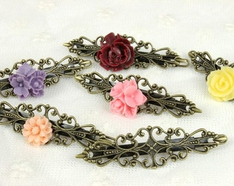 20 Pcs SALE  Adjustable Antique Brass Bronze Filigree Floral Hair Clip Setting NICKEL FREE