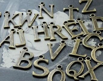 260pcs Unique  Antique Bronze plated brass A-Z Alphabet  Charm / Pendant- High Quality
