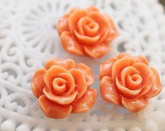 50% off -Wholesale Beautiful   Colorful Rose Flower Resin Cabochon   - -12mm(CAB-AK-15)
