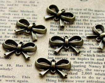 50pcs Antique Bronze plated brass Charms/Pendants- ( Bow bow-knot) 21x15mm(HAB-136)
