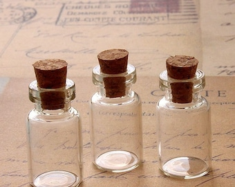 10 pcs 24x13mm Clear Glass Tiny Bottle Vials Charms / Pendants with  With Corks /EYEHOOKS (BOT-26)