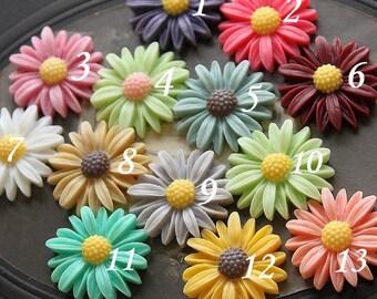 13pcs SALE Beautiful  Colorful Daisy Flower Resin Cabochon    --28mm(CAB-U-MIXSS)