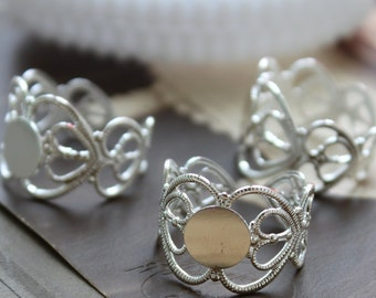 20PCS SALE Wholesale Adjustable  Silver   plated brass  Filigree Rings jewelry ring blank setting With 8mm Pad (Nickel Free)-(RINGSS-2)