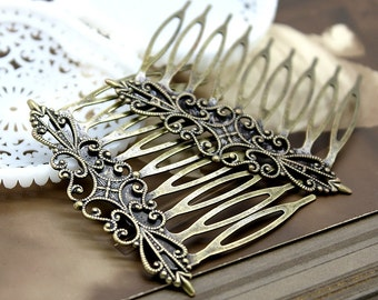 50Pcs Wholesale Antique Brass Filigree hair comb Setting NICKEL FREE(COMBSS -1)