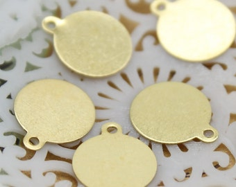 10x12 mm Raw Brass Round Charm Tag for Cab , Charms / Tags with Loop Tag Findingss(FILIG-RB-19)