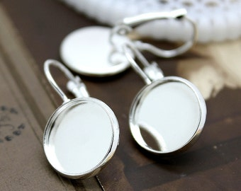 SALE 50 Pcs 16mm Silver plated  brass Earring ear hook  Hoop with 16mm Round Pad   (EAR-7)
