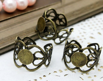 20 PCS Wholesale Adjustable Antiqued Vintage Bronze plated brass Filigree  jewelry ring blank setting With 8mm Pad (Nickel Free)-(RINGSS-2)