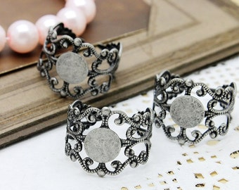 10PCS Adjustable   Antiqued Silver   plated Raw Brass  Rings jewelry ring blank setting With 8mm Pad (RINGSS-1)