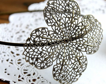 10Pcs Width of the band is 5mm Adjustable Antique Bronze Filigree Floral HeadBand Setting  NICKEL FREE(HBSB-3)