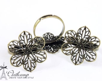 10PCS Adjustable Antique Bronze plated brass Rings jewelry ring blank setting With 6-petal flower  Pad (Nickel Free)-(RINGSS-9)