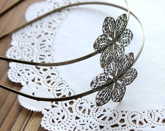 10Pcs Adjustable Antique Bronze Filigree Floral HeadBand Setting  NICKEL FREE(HBSB-4)