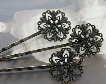 10PCS Wholesale Antique Brass Filigree Feather  Hair  pins Clip Setting- high quality-buy 8 pcs get 2pcs free( PINSS-12)