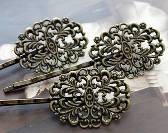 10pcs Wholesale Antique Brass Filigree Feather  Hair  pins Clip Setting- high quality-( PINSS-16)