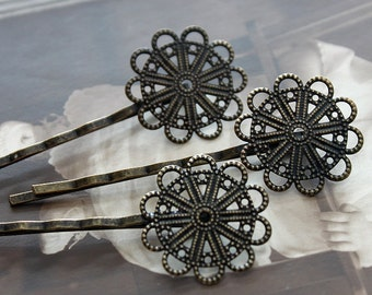 10PCS Wholesale Antique Brass Filigree Feather  Hair  pins Clip Setting- high quality-buy 8 pcs get 2pcs free( PINSS-19)