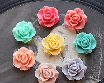 80pcs 160pcs Wholesale Beautiful Mix Colorful Rose Flower Resin Cabochon   -8colors  -20mm(CAB-S -MIXSS--2)