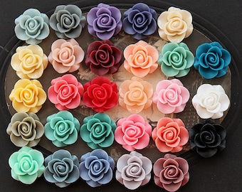 28pcs Wholesale Beautiful Mix Colorful Rose Flower Resin Cabochon   -28colors  -20mm(CAB-S -MIXSS--1)