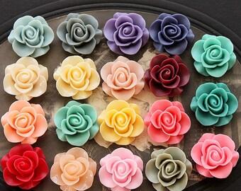 19pcs Wholesale Beautiful Mix Colorful Rose Flower Resin Cabochon   -19colors  -20mm(CAB-S -MIXSS--4)