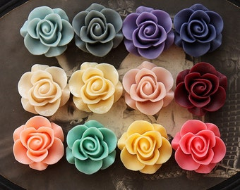 12colors Wholesale Beautiful Mix Colorful Rose Flower Resin Cabochon   -  -20mm(CAB-S -MIXSS--3)