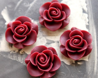10pcs Wholesale Beautiful  Colorful Rose Flower Resin Cabochon   --20mm(CAB-S-8)