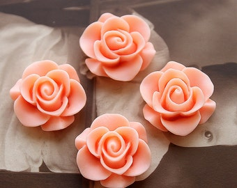 10pcs Wholesale Beautiful  Colorful Rose Flower Resin Cabochon   --20mm(CAB-S-9)