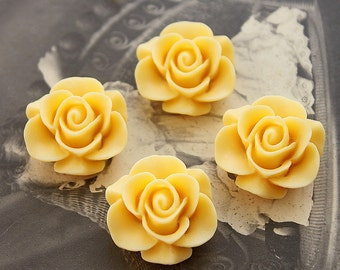 10pcs Wholesale Beautiful Colorful Rose Flower Resin Cabochon   --20mm(CAB-S -11)