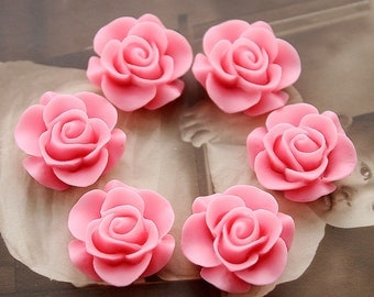 Wholesale Beautiful  Colorful Rose Flower Resin Cabochon   --20mm(CAB-S -19)