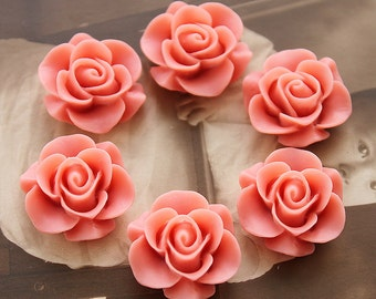 Wholesale Beautiful  Colorful Rose Flower Resin Cabochon    --20mm(CAB-S -20)