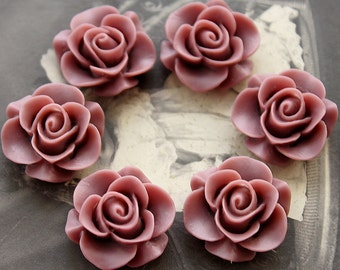 Wholesale Beautiful  Colorful Rose Flower Resin Cabochon   --20mm(CAB-S -25)