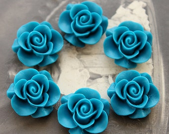 20pcs Wholesale Beautiful  Colorful Rose Flower Resin Cabochon   --20mm(CAB-S -26)
