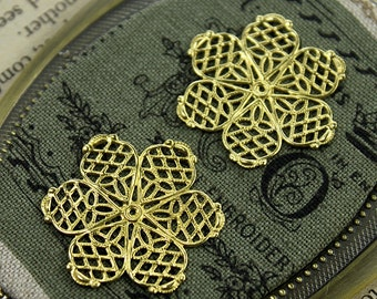 10pcs RAW Brass Filigree  Jewelry Stampings ConnectorsSetting Cab Base Connector Finding  (FILIG-RB-21)