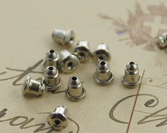 200PCS Silver Plated Earring Studs Back Stoppers   6x5mm Nickel Free  (EAR-11A)