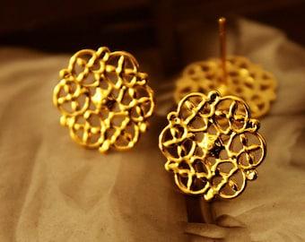 10 Pcs Gold plated Brass Filigree Lace Steel Post  Earring  NICKEL FREE(EAR-14)