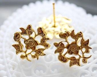 100 Pcs Gold plated Brass Filigree Lace Steel Post  Earring  NICKEL FREE(EAR-12)