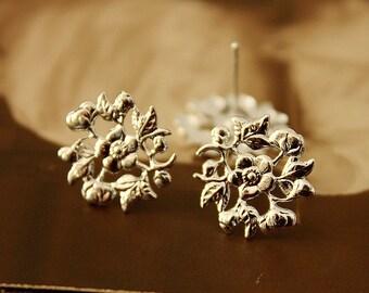 10 Pcs Silver plated Brass Filigree Lace Steel Post  Earring  NICKEL FREE(EAR-12)