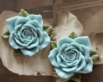 Big SALE-10pcs  Beautiful Colorful Big Rose  Cabochon With green  Leaf --33 mm(CAB-KA-4)