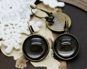 16mm Antiqued Bronze  plated  brass Earring ear hook  Hoop with 16mm Round Pad NICKEL FREE (EAR-27)