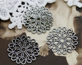 10pcs  Antiqued Silver  plated RAW brass Filigree  Jewelry Connectors Setting Cab Base Connector Finding  (FILIG-AS-6)