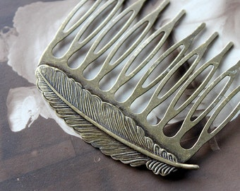 5Pcs Wholesale Antique bronze plated Brass Filigree hair comb Setting NICKEL FREE(COMBSS-5)