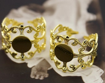 10PCS Adjustable Gold plated Raw Brass  Rings jewelry ring blank setting With 8mm Pad (RINGSS-1)