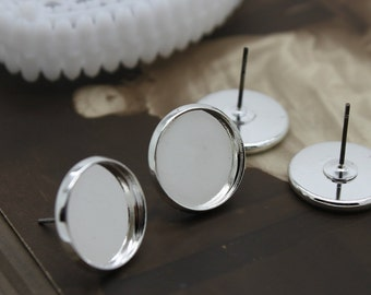 10Pcs 14mm  Silver plated  brass blank setting Post Earring With 14mm Round Pad  NICKEL FREE (EAR -36)