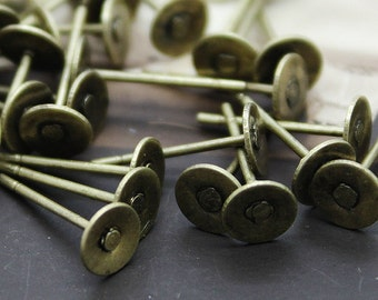 50 Pcs Antiqued Bronze plated Brass Steel Post  Earring with 5mm glue pad  NICKEL FREE(EAR-20)