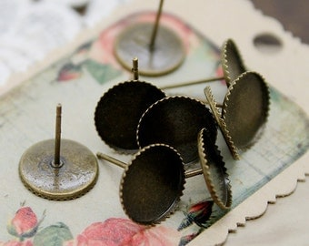 20Pcs 10mm Antiqued Bronze  plated  brass blank setting Post Earring With 10mm Round Pad  NICKEL FREE (EAR-34)