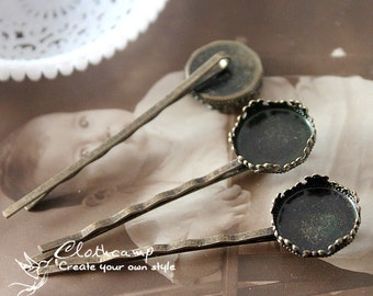 10Pcs  Antique Brass Filigree Hair  pins Clip Setting with 15mm Pad-NICKEL FREE( PINSS-45)