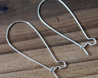 100Pcs  Silver  Earring  Medium Kidney Ear Wires NICKEL FREE-38mm  (EAR-9S)