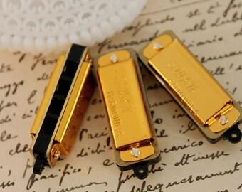 2PCS-  Gold  Mini Vintage Style Harmonica Pendants-(FILIG-GD-14)