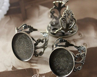 10PCS (13x18mm)Antiqued Bronze Adjustable Filigree Ring Bases   blank setting With 18x13mm  Filigree Bases (RINGSS-78)
